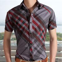 Free shipping men's cotton checked shirt short sleeve slim fit 3 colors M L XL XXL XXXL 923