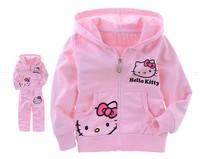 Latest Girl Autumn Clothing Lovely Kitty Design Children Girl Coat+Pants Set Cute Pink Girl Clothing Set Size90-130 1set NYT-023