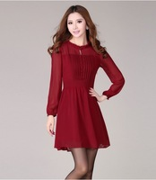 S~XXL Summer Ladies Brief Plus Size Button Chiffon Solid Color Pleated Slim Short-sleeve Knee-length Slim Women Dresses