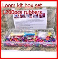 10set new 2014 Loom kit box set Loom rubber bands kit Knitting machines1200pcs rubber+50pcs c/s clips