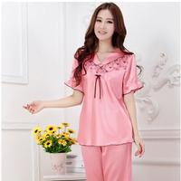 LZ nightwear chiffon silk short-sleeve summer pajama sets women sleepwear pijamas femininos inverno for adults M L XL XXL XXXL