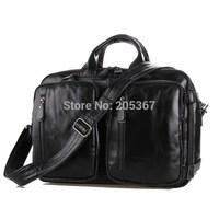 J.M.D 2014 New Cow Leather Men's  Handbag Laptop Bag Back pack Travel Shoulder  Bag Black Briefcases  # 7041A-1