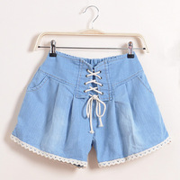 Spring Summer New 2014 Fashion Casual Criss Cross Loose Denim Shorts Hot  Trousers Shorts For Women Girl 52202