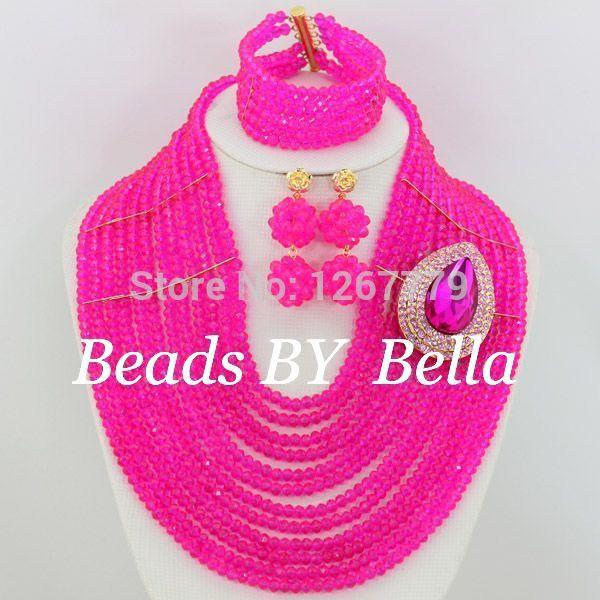 Free Shipping New Pink 12 Rows African Bridal Jewelry Set 18K Nigerian Custom Wedding Jewelry Set
