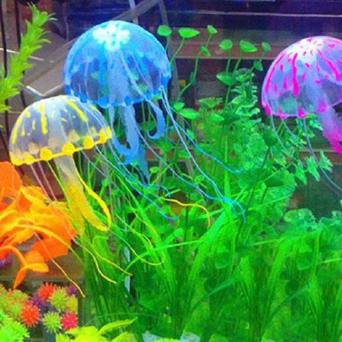 Free Shipping 1PC Glowing Effect Vivid Jellyfish for Aquarium Fish Tank Garden Pool Ornament Decor -PY-PY(China (Mainland))