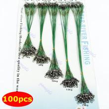 Frete Grátis 100 unidades Pesca Verde Traçar Lures Líder fio de aço Spinner 16/18/22/24 /28 centímetros - PY- PY(China (Mainland))