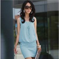 2014 women's sleeveless pearl chiffon one-piece dress slim hip ol fashion tank dress 7054W