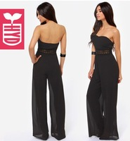 Drop ship 2014 summer strapless Holiday beach Womens sexy Jumpsuits Loose chest wrapped chiffon Flared trousers