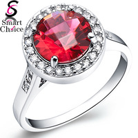 18K White Gold Plated Imitation Red Cubic Diamond Ring For Lady Women Female - quality guarantee