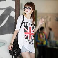 ( Special ) 2014 new large size women's T-shirt Union Jack Millet