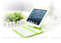 Green Portable Aluminum wireless folding rotate 360 degrees bluetooth 3.0 keyboard Case cover for ipad2/ipad3/ipad4 tablet PC