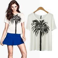 Fashion New Designer 2014 Summer Cotton T-Shirt For Women Short Sleeve O-Neck Coconut Tree Print White Tops Free Shipping Eu514