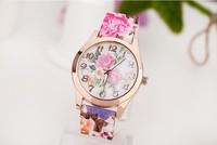 2014 New Fashion Women dress Watches flower print Watch Silicone Geneva Watches for ladies