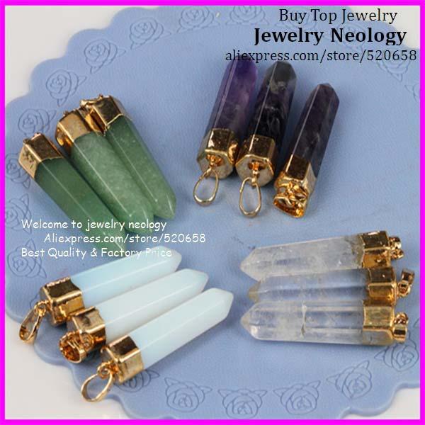 Wholesale 10pcs Clear green Aventurine Quartz Amethyst Opal Opalite Hearing Quartz point Pendant jewelry(China (Mainland))