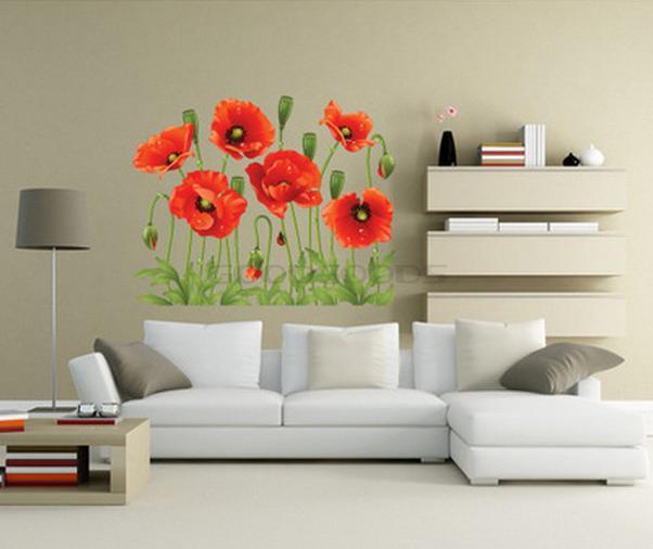 Compoppy Wallpaper Home Interior : Mural Home Art Decor RED POPPY Bedroom Living Room Decals Wallpaper ...
