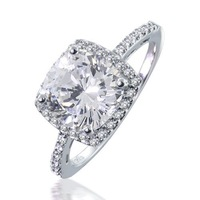 Halo Engagement Wedding Ring for Women Platilum Plated Cushion Cut Cubic Zirconia Solitaire Engagement Ring