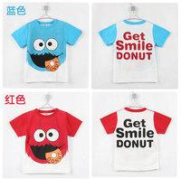 2 pcs/lot 2014 New arrival boy's kt-shirt blue or red 100% cotton good quality hot sale summer kid's t-shirt boy's t-shirt