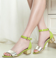 Free Shipping Fashion Women Sandals,High Quality Genuine Leather Sandal Shoes Lady Women Sexy Thick Heel Shoes Green Gold