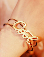 Fashion Women Costume Jewelry Cool Statement Letter Rose Gold Pulseiras Cuff  Bracelet Silver Bangle Women