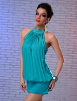 2014 New Women Ladies Cotton Sleeveless Dress Summer Dress Casual Dresses Mini Dress Lovely free shipping F4109