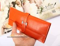 Women's Genuine Leather Wallet,cowhide fashion leather clutch,Orange/Green,waxed,metal clasp[Fashion Depot]