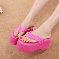 Summer platform high heels flip flops shoes women wedges beach flip slippers  women shoes