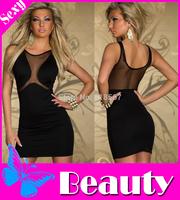 New 2014 Sleeveless Mesh vestido Televised Bosom Sexy Dress Tight Pack Hip Women Summer Dress Fashion Women Party Dresses