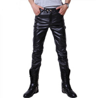 2014 Men's clothing base Male PU trousers slim male PU spring and autumn pants thickening tights faux leather pants