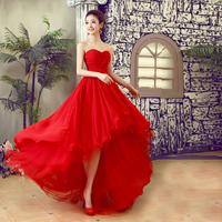 Free shipping 2014 new fashion silk chiffon women formal dress vestidos de fiesta gowns low-high tube top evening dress 4 COLORS