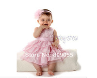 wholesale--2014 new 5 sets baby girl dress party princess red chiffon dress + headband 5pcs/1lot