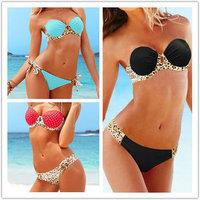 Women's Polka Dots Leopard Bikinis Sets Wrap Halter Swimwear Beachwear Bandeau Padded Swimsuit 3 Colors S M L