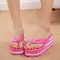 2014 high heels slipper flip flops platform female high-heeled slippers summer beach flip fiops women shoes