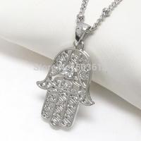Wholesale Costume Jewelry Crystal Rhinestone Alloy Filigree Hamsa Dull Silver/Gold Pendant Necklace Free Shipping xy036