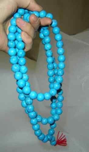 Tibetano budista 108 108 Oração 10 milímetros Natural Turquoise Beads Mala(China (Mainland))