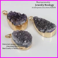 free ship! Mystic Amethyst Quartz Geode Druzy Gem stone drusy Pendant  fit druzy jewelry necklace 5pcs/lot