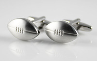 American Football Cufflinks Silver Metal stainless steel English Rugby OVAL ball Sports Fans Men Suit Collection Wedding Gift