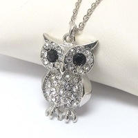 Tops 2014! Wholesale Costume Jewelry Crystal Rhinestone Two Colors Owl Animal Pendant/Charm Necklace Free Shipping xy035