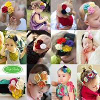 2014 new handmade sewing flower baby hair jewelry elastic headband cheap free shippng