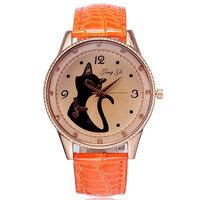 Dropship pu leather strap casual watch women dress watch 2014 quartz analog crystal rhinestone rose gold cat design wristwatch