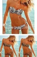 Sexy Women's Bikini Set New Fashion Brand Style Stripes or Leopard Pad Swimsuits Top Swimwear Beachwear BK-080 Free Shipping