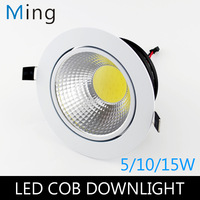 5W / 10W / 15W COB LED round ceiling recessed downlight  light with white exterior color AC110V and AC220V 3 / 4 / 5in, 4pcs/lot