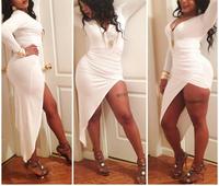 2014 new Fashion women nightclub wear white black deep v-neck bandage dress irregular sexy bodycon dress plus size SJ1062