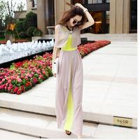 Long Novelty Women Summer Maxi Dresses Plus Size 2014 Elegant Sleeveless Chiffon Bohemia Dress High Street Female Party Vestidos