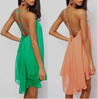 Fashion Novelty Halter Womens Sexy Backless Sling Strap Chiffon Clubwear Beach Swing dress Mini Dress Plus Size S M L XL