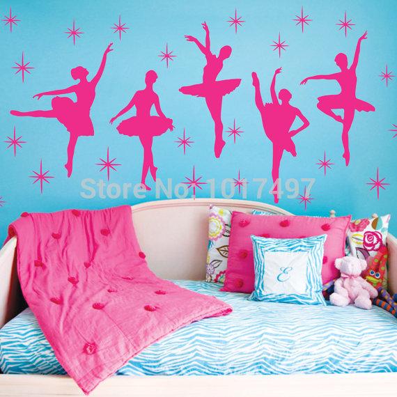 Ballet Dance Ballerinas Vinyl Wall Decals Art Sticker Nursery Kids Girls , Hot Pink White free shipping A2059(China (Mainland))