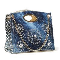 Free shipping 2014 new lady canvas bag high-end chain denim diamond braided shoulder cross Lady Bag Handbag Shoulder Bag