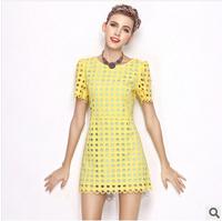 Freeshipping New Fahion 2014 Summer  Dress Women short-sleeve O-Neck Casual Dress  Mini Dress Slim dot 100% Polyester dress