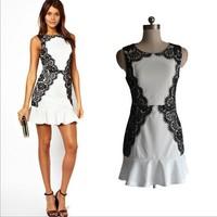 2014 New Fashion Women Summer Casual Dresses Sheath Mini Lace O-Neck Women Dresses Size S-XXL