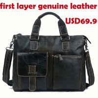 Hot Sale New men briefcases 2014 brand black travel briefcase mens laptop leather bag designer men messenger bags