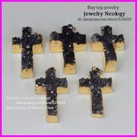 free ship! 5pcs /lot  fashion nature druzy stone drusy cross shape nature crystal jewelry necklace pendant